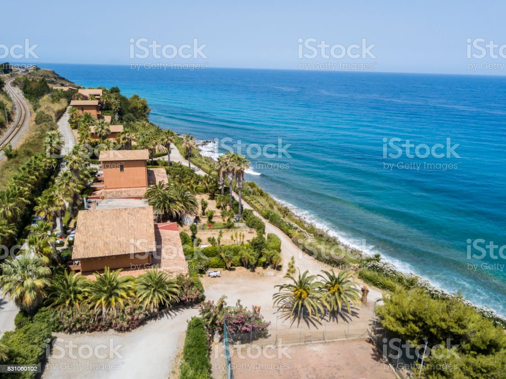 Aerial view of a promontory, coast, cliff, cliff overlooking the sea, Sant 'Irene, Briatico, Calabria. Italy stock photo
