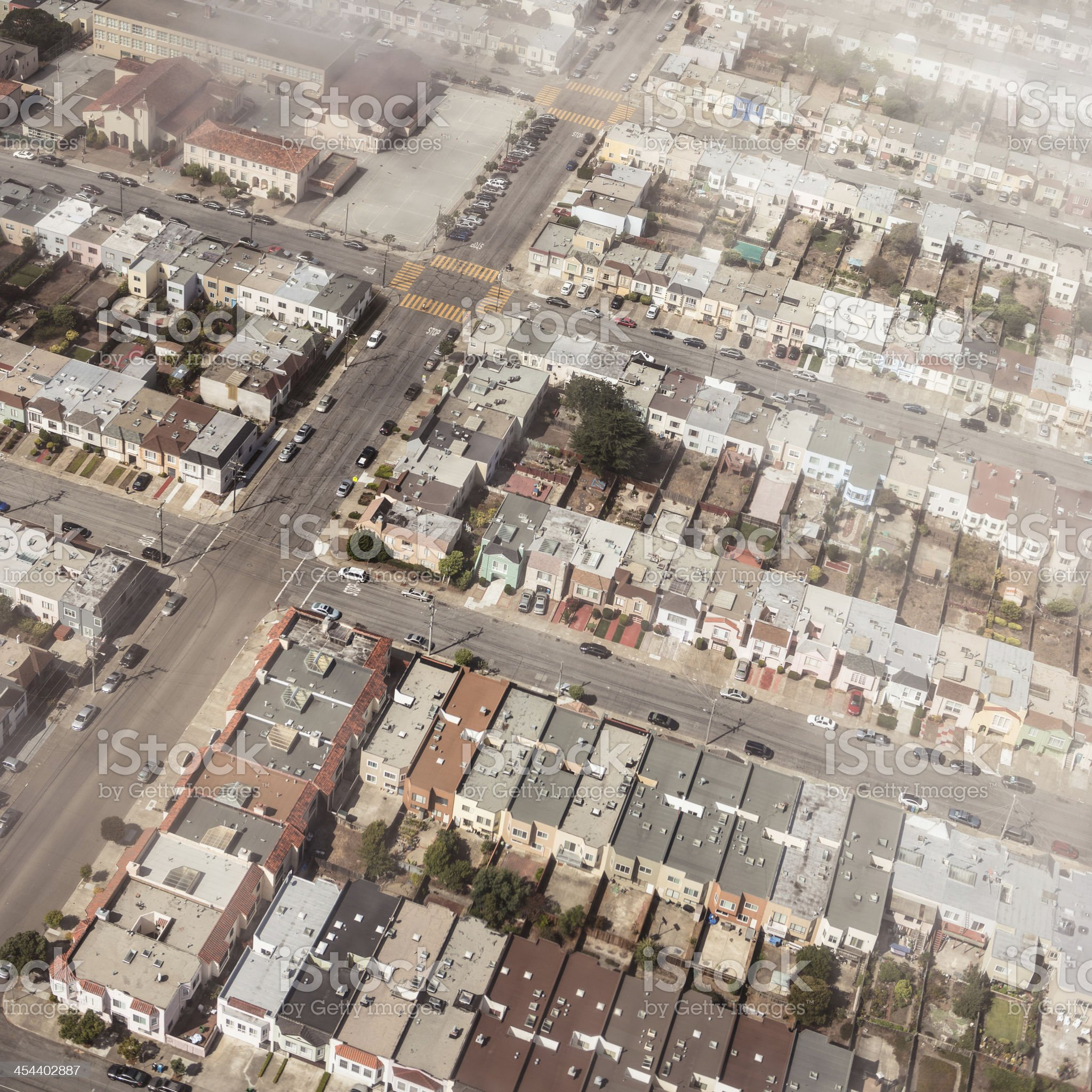 Aerial view of a residential district royalty-free stock photo