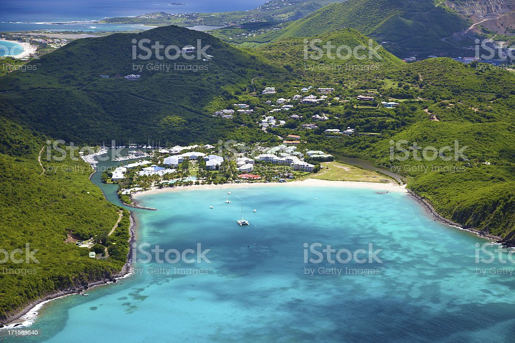 aerial view of a resort in St.Martin, French West Indies royalty-free stock photo