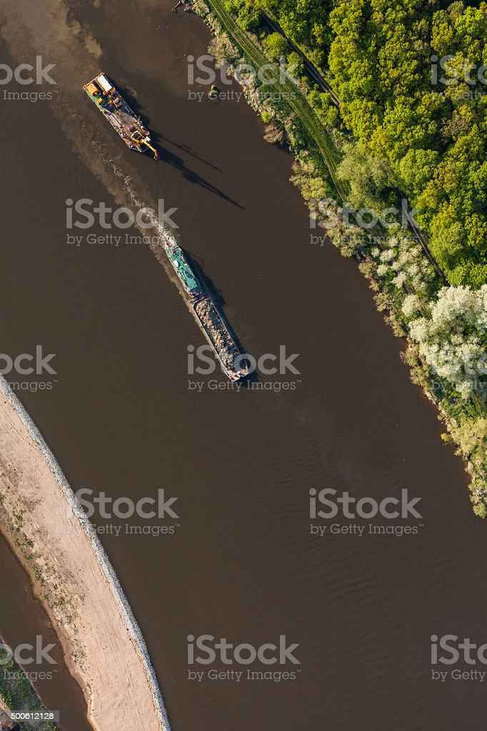 aerial view of a river barge stock photo
