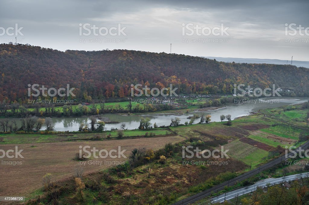 aerial view of a river in autumn royalty-free stock photo