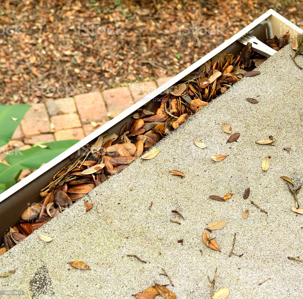 Aerial view of a roof top gutter clogged with leaves stock photo