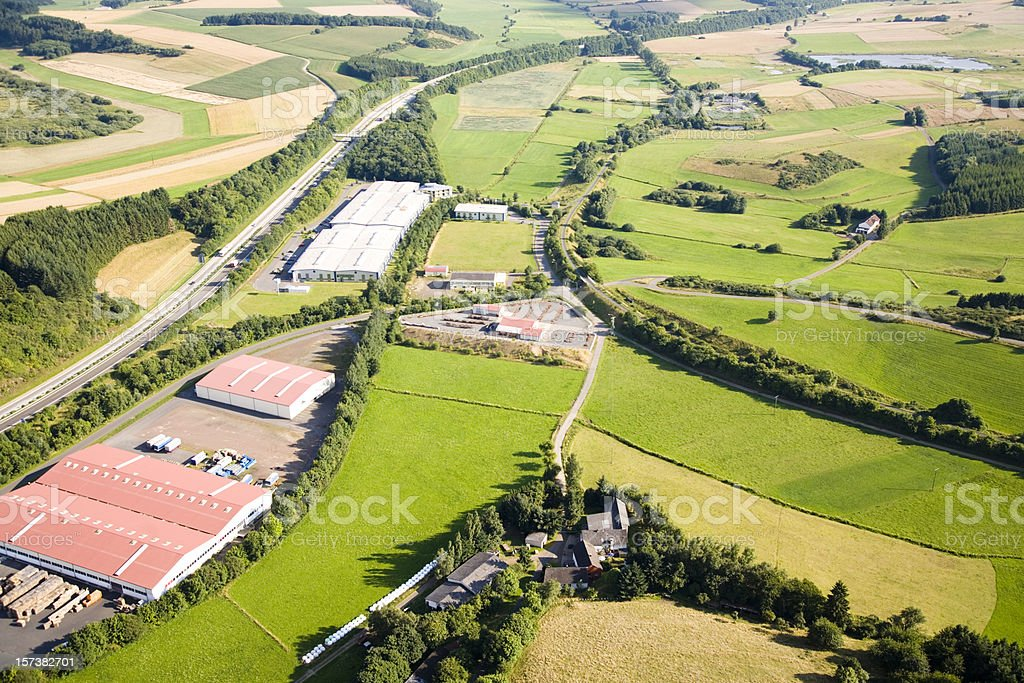 Aerial View of a Rural Landscape with Plants royalty-free stock photo