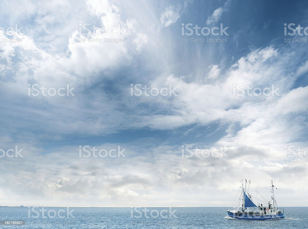 Aerial View of a Shrimp Boat on Ocean royalty-free stock photo
