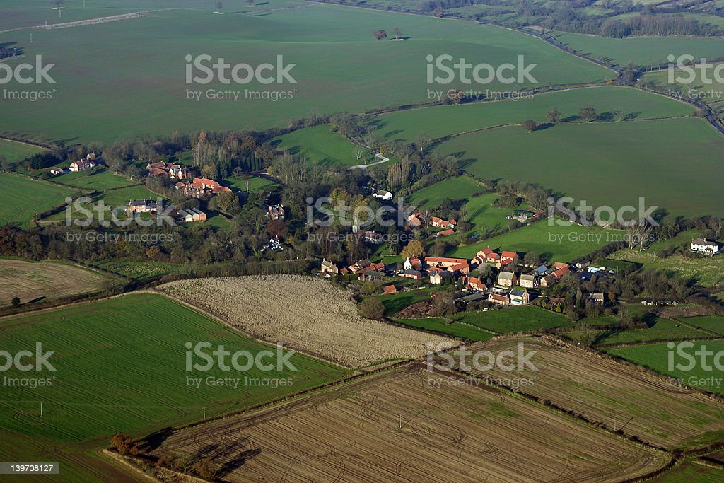 Aerial view of a small English village royalty-free stock photo