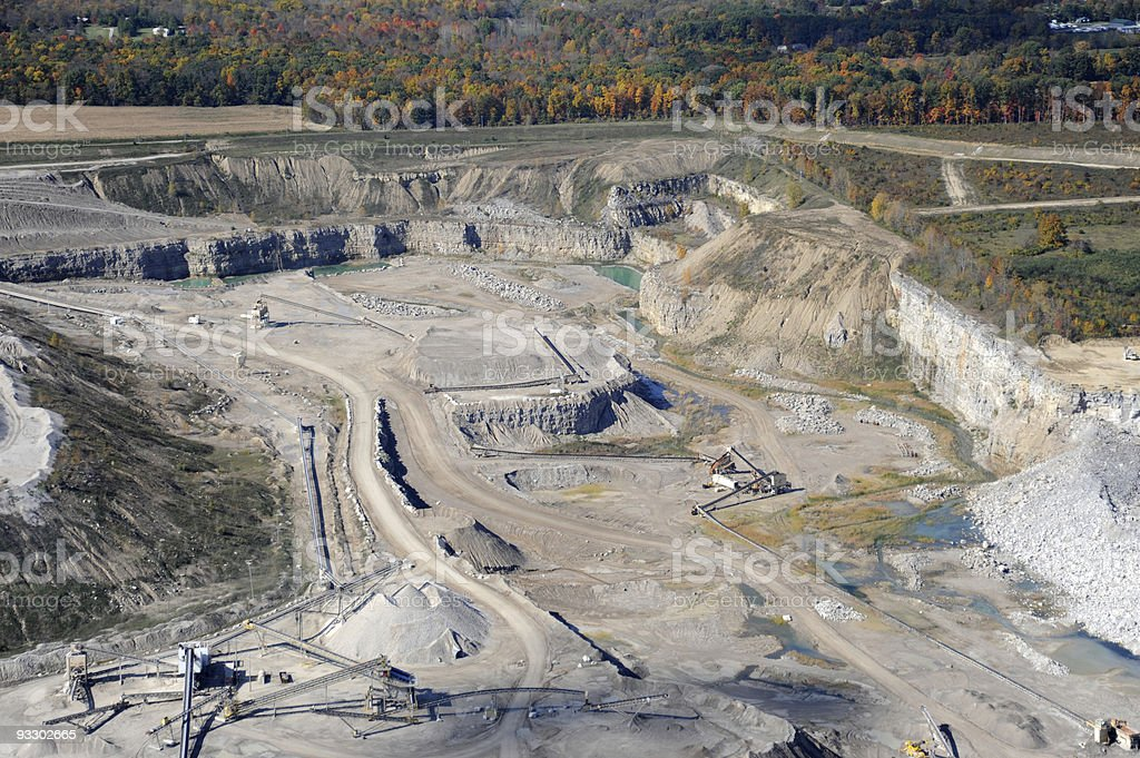 Aerial View of a Stone Quarry stock photo