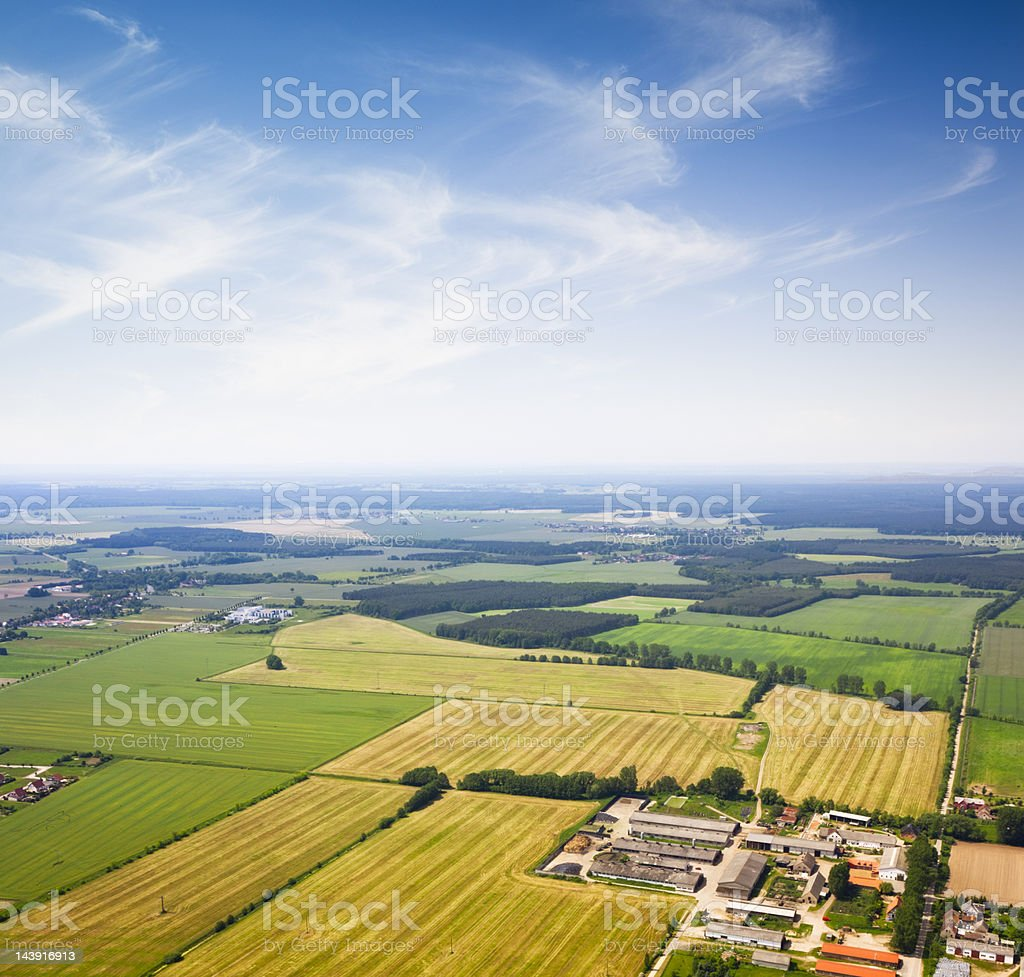 Aerial view of a Suburban area , Agriculture royalty-free stock photo