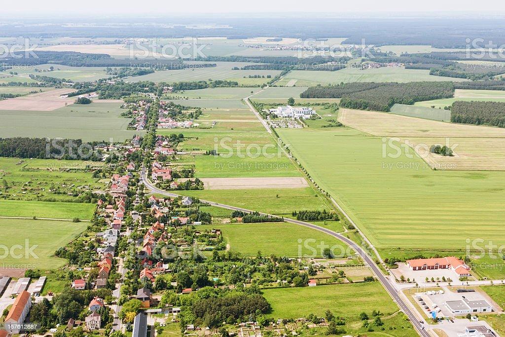 Aerial view of a Suburban area , farmland royalty-free stock photo
