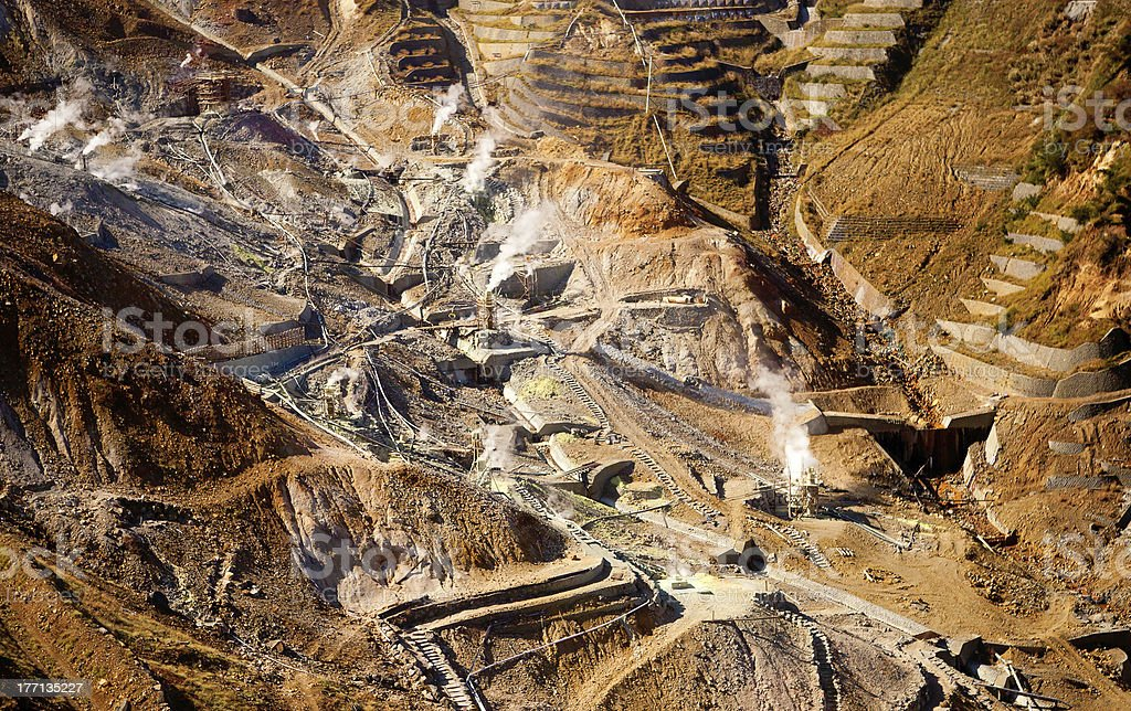 Aerial view of a sulfur quarry in Hakone, Japan stock photo