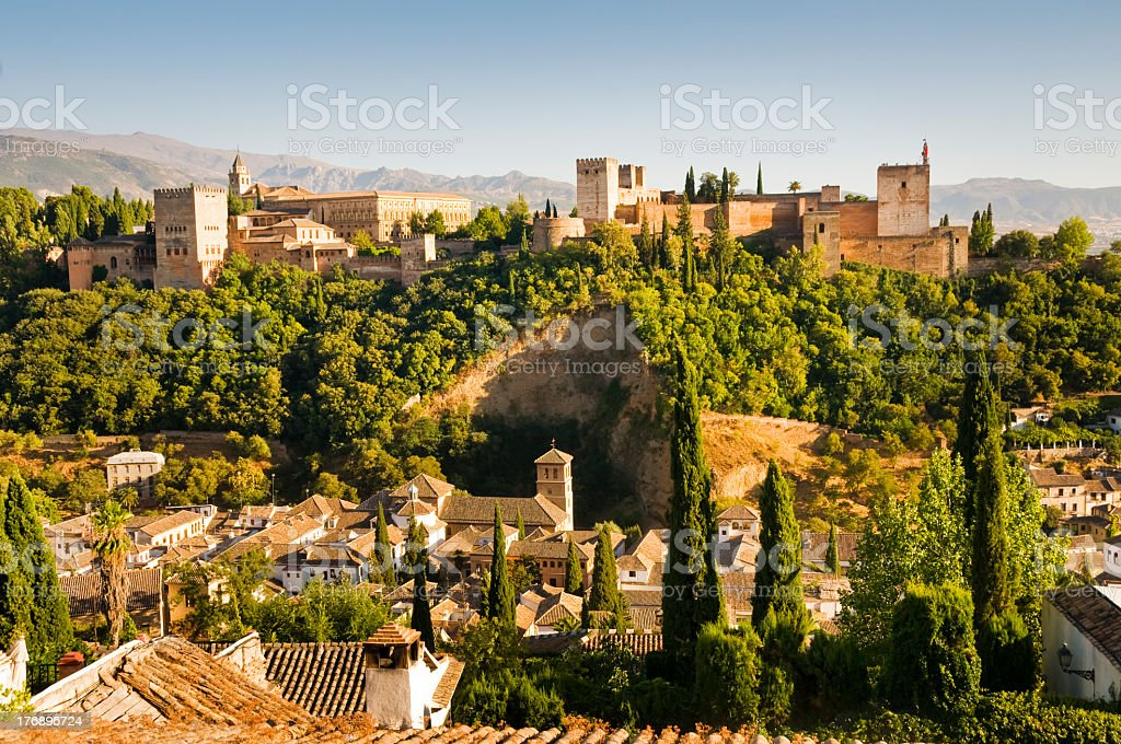 Aerial view of a town in Granada with lush foliage stock photo