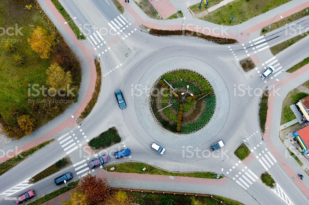 Aerial view of a traffic roundabout royalty-free stock photo