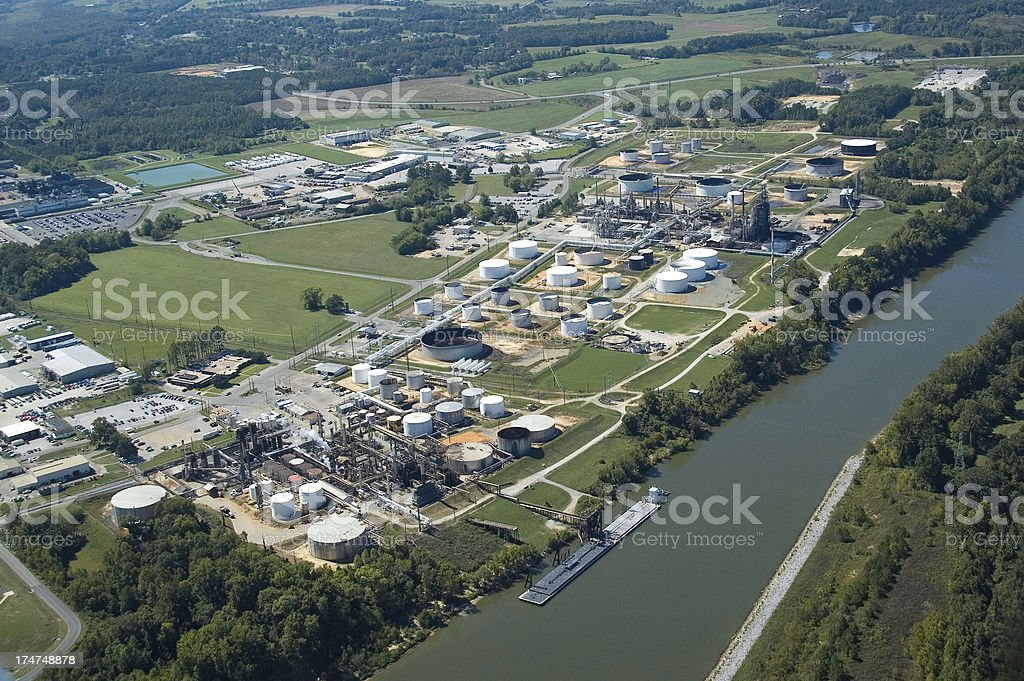 Aerial view of a Tuscaloosa Oil Refinery stock photo