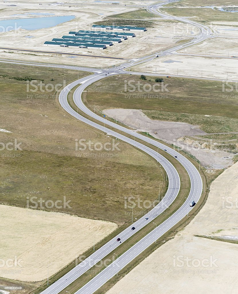 Aerial view of a twisty highway royalty-free stock photo