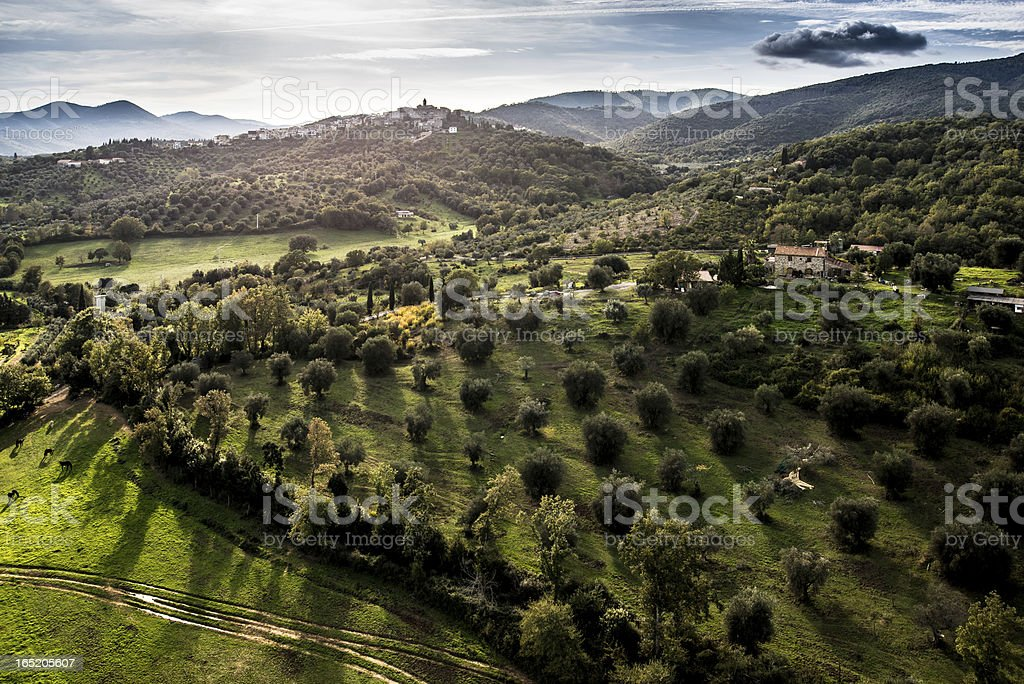 Aerial view of a village in Tuscany royalty-free stock photo
