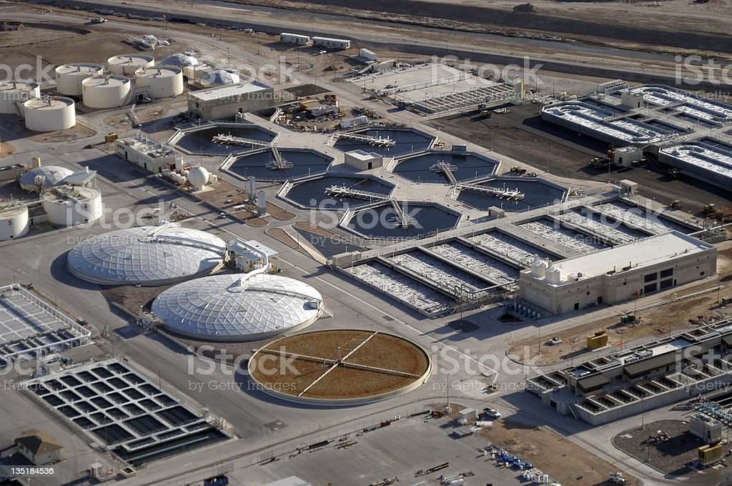 Aerial view of a water reclamation plant royalty-free stock photo