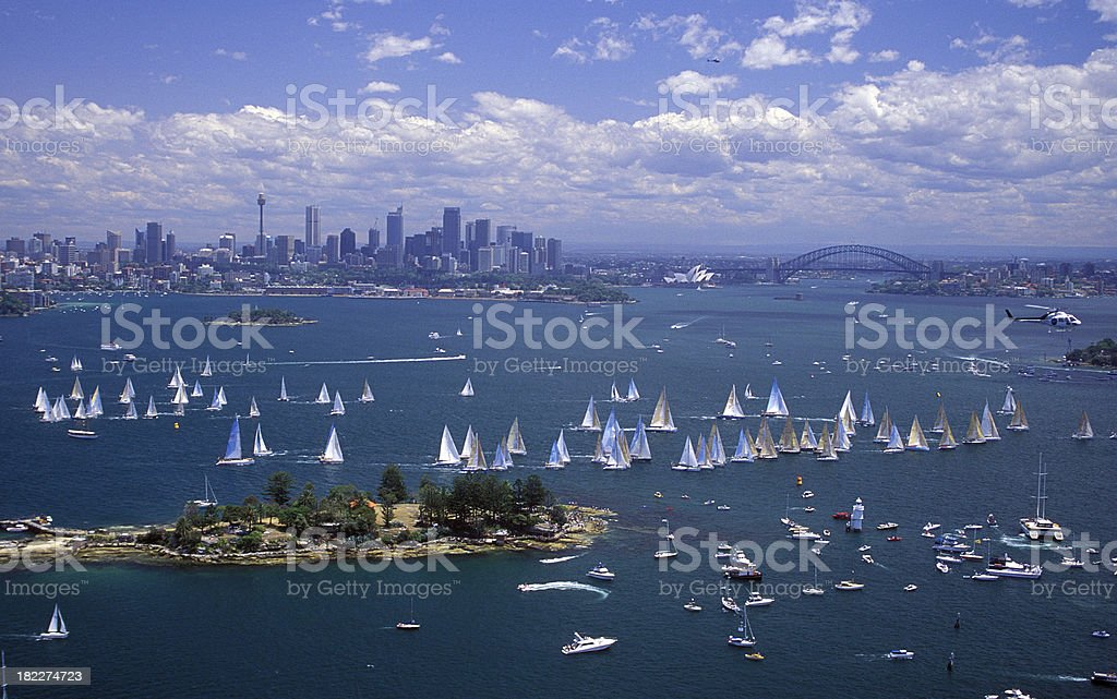 Aerial view of a yacht race on body of water stock photo