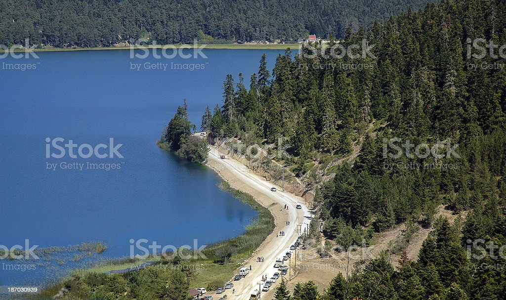 Aerial view of Abant Lake in Bolu, Turkiye stock photo