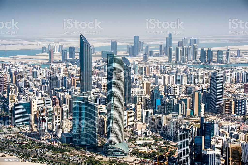 Aerial view of Abu Dhabi urban settlement stock photo