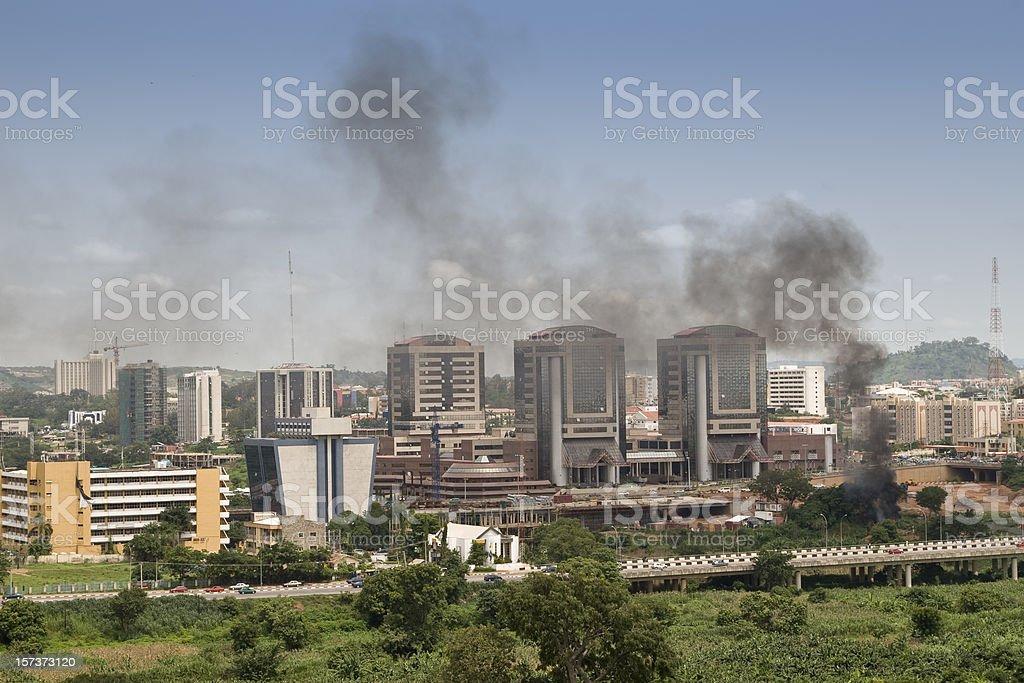 Aerial view of Abuja, Nigeria stock photo