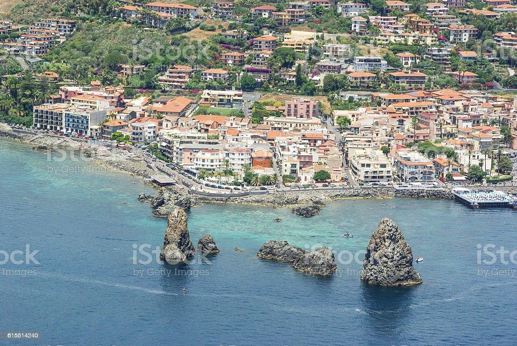 Aerial view of Aci Trezza, Sicily, Italy stock photo