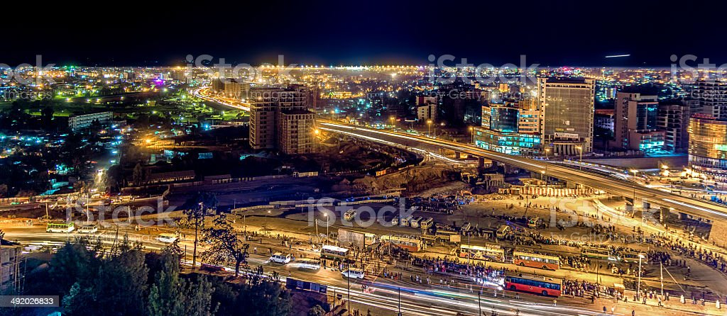 Aerial view of Addis Ababa stock photo
