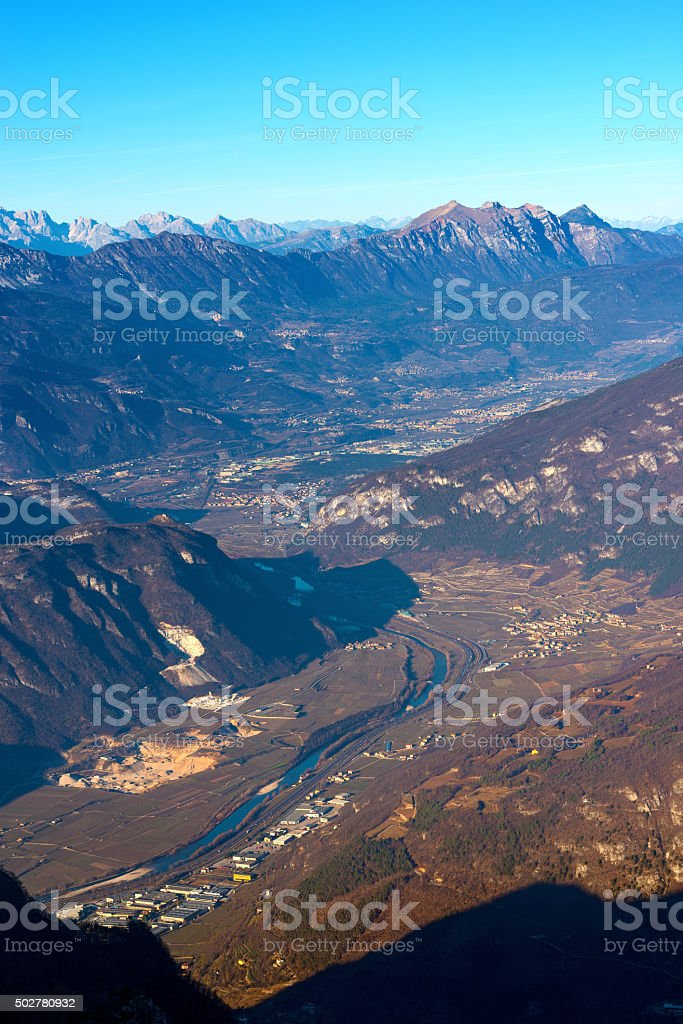 Aerial View of Adige Valley - Italy stock photo