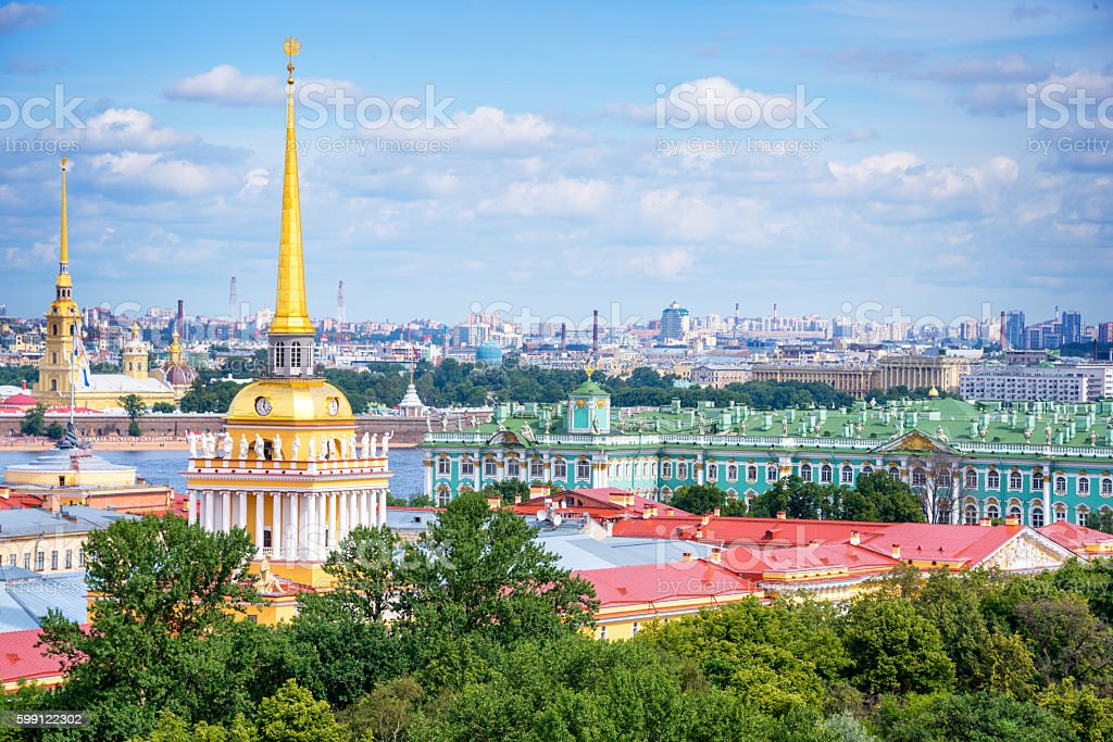 Aerial view of Admiralty tower and Hermitage, St Petersburg, Russia stock photo