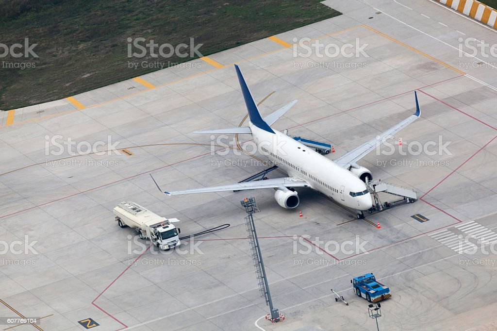 Aerial view of airplanes on port stock photo