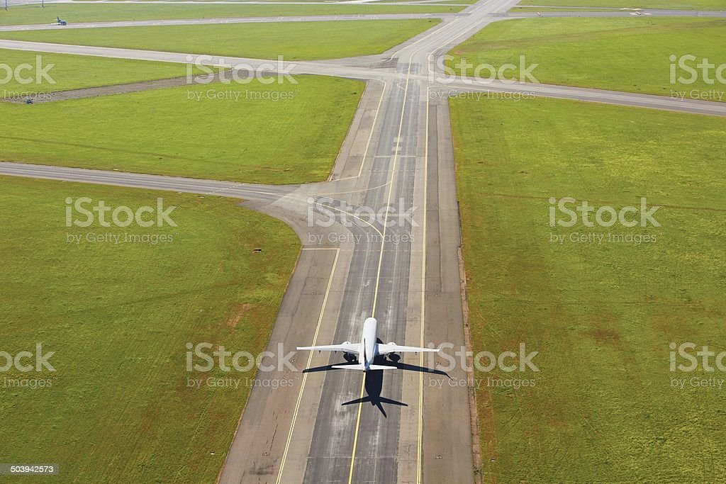Aerial view of airport stock photo