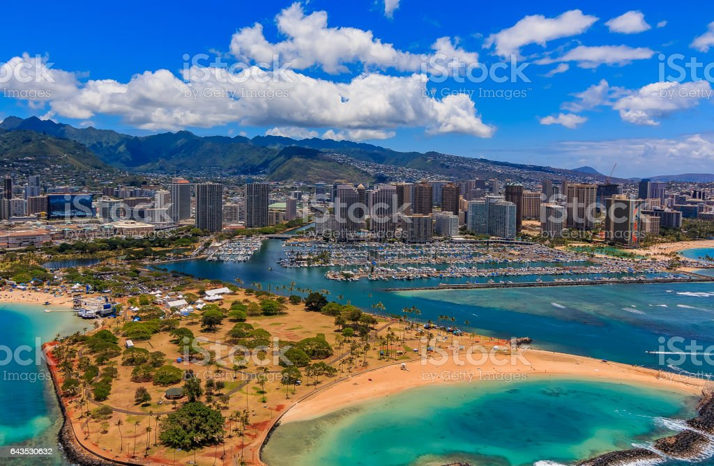 Aerial view of Ala Moana Beach Park in Honolulu Hawaii stock photo