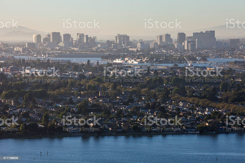 Aerial view of Alameda and Oakland CA stock photo