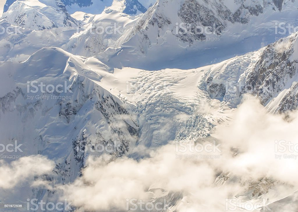 Aerial view of Alaska mountains stock photo