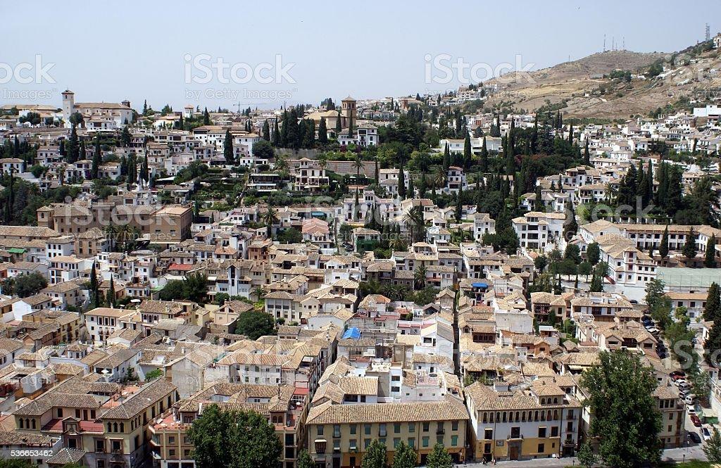 Aerial view of Albaicin , Granada City Spain stock photo