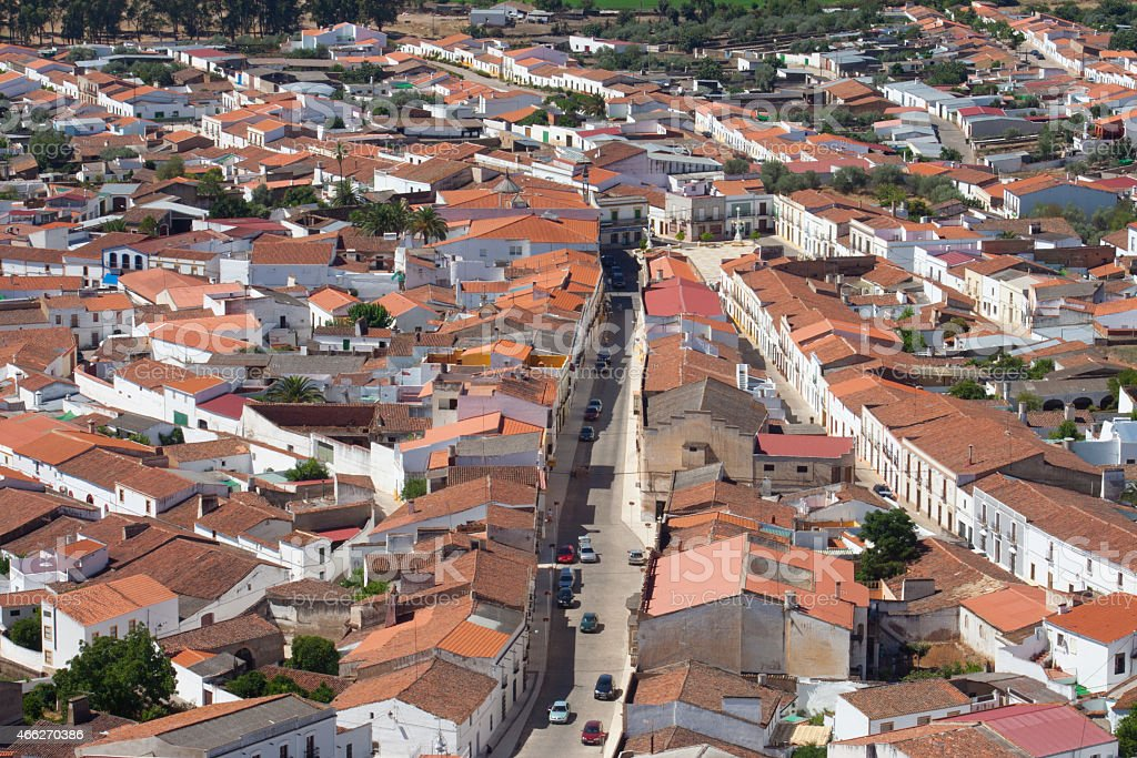 Aerial view of Alconchel, Spain stock photo