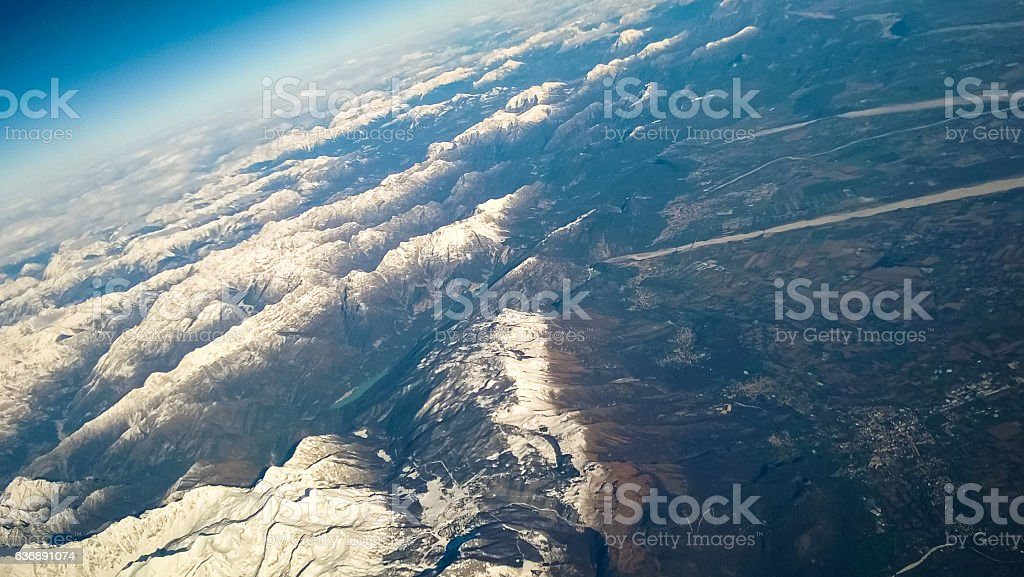 Aerial view of Alps Austria and Italy, Europe. stock photo