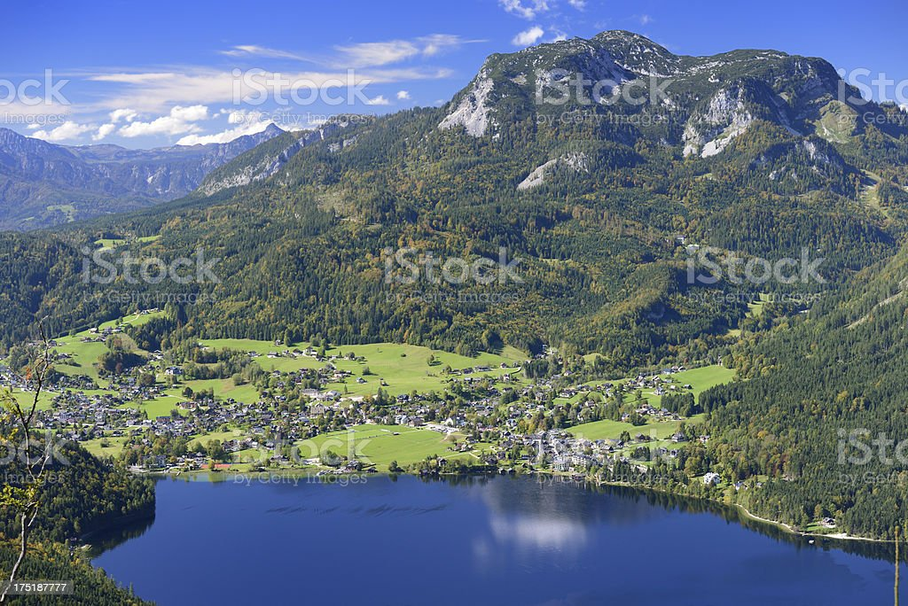 Aerial View of Altaussee, a small Austrian Village (XXXL) royalty-free stock photo