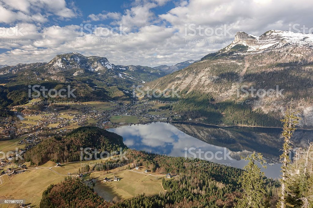 Aerial View of Altaussee, a small Austrian Village stock photo