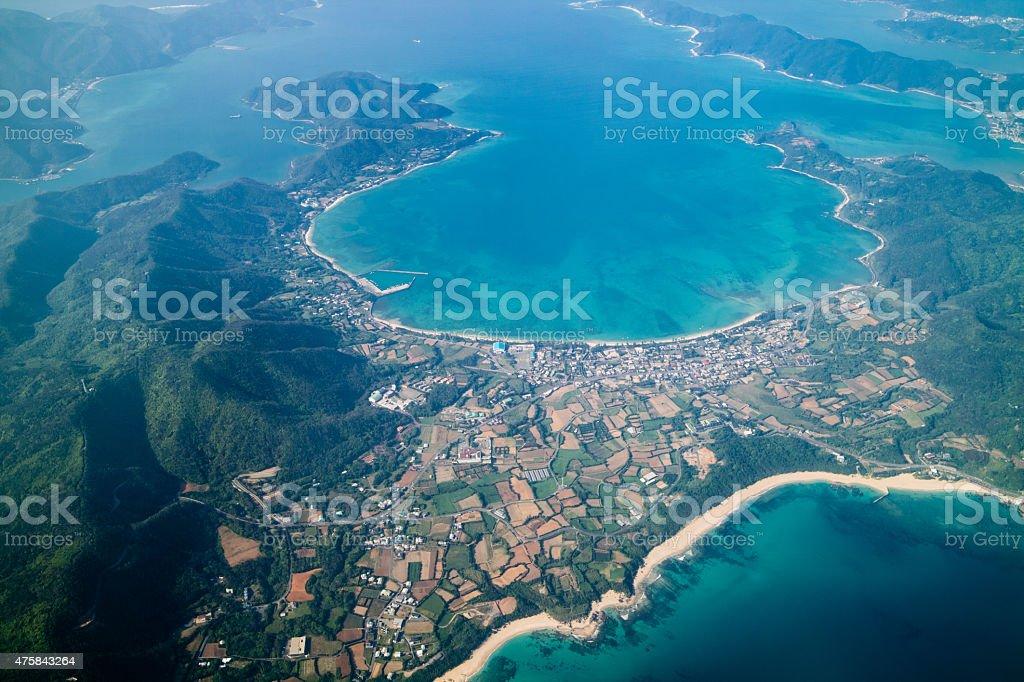 Luftbild von Amami Oshima und tropischen Paradies Küste Lizenzfreies stock-foto