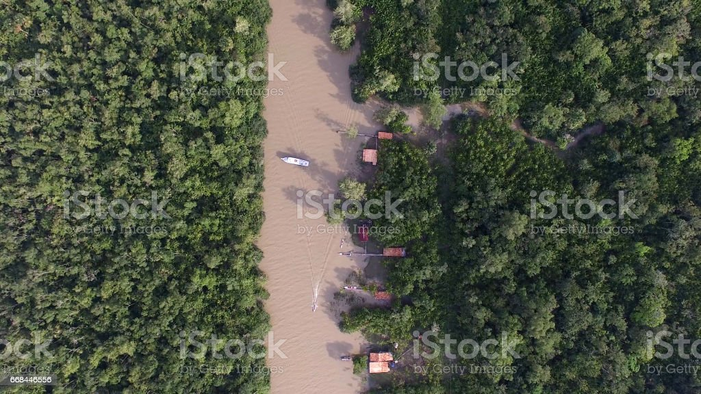 Aerial View of Amazon River, South America, Brazil stock photo