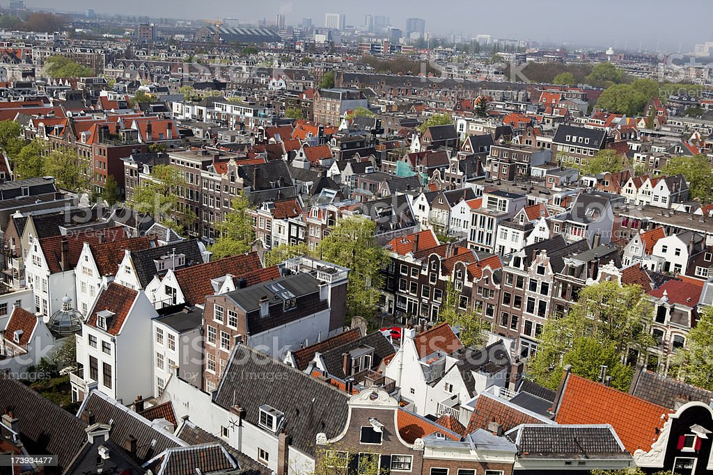 Aerial View of Amsterdam stock photo
