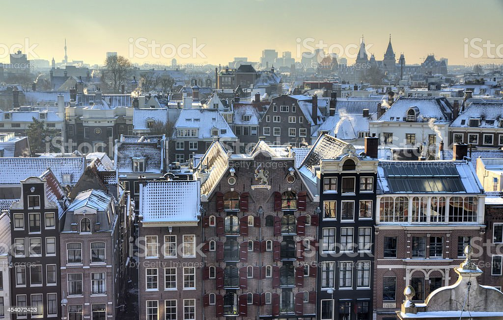 Aerial view of Amsterdam winter cityscape stock photo