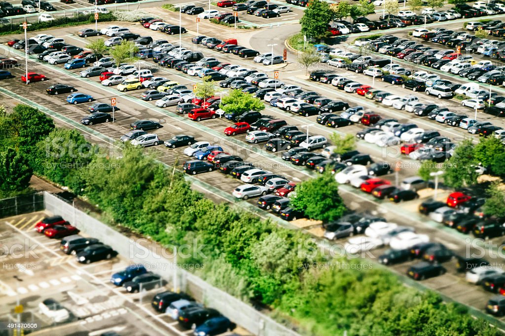 Aerial view of an airport parking lot, London Heathrow stock photo