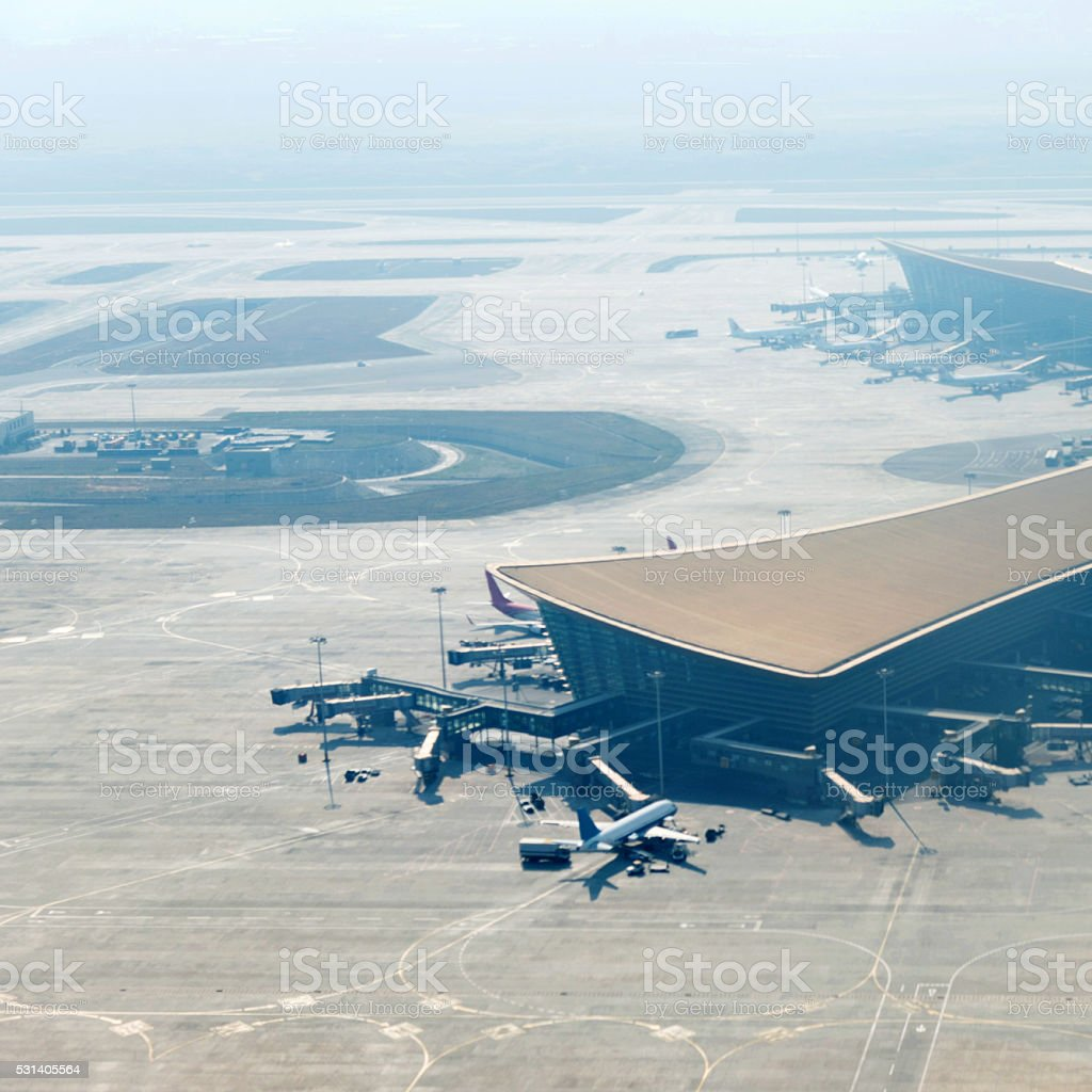 Aerial view of an airport stock photo
