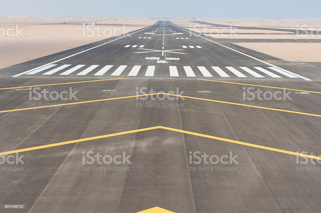 Aerial view of an airport runway stock photo