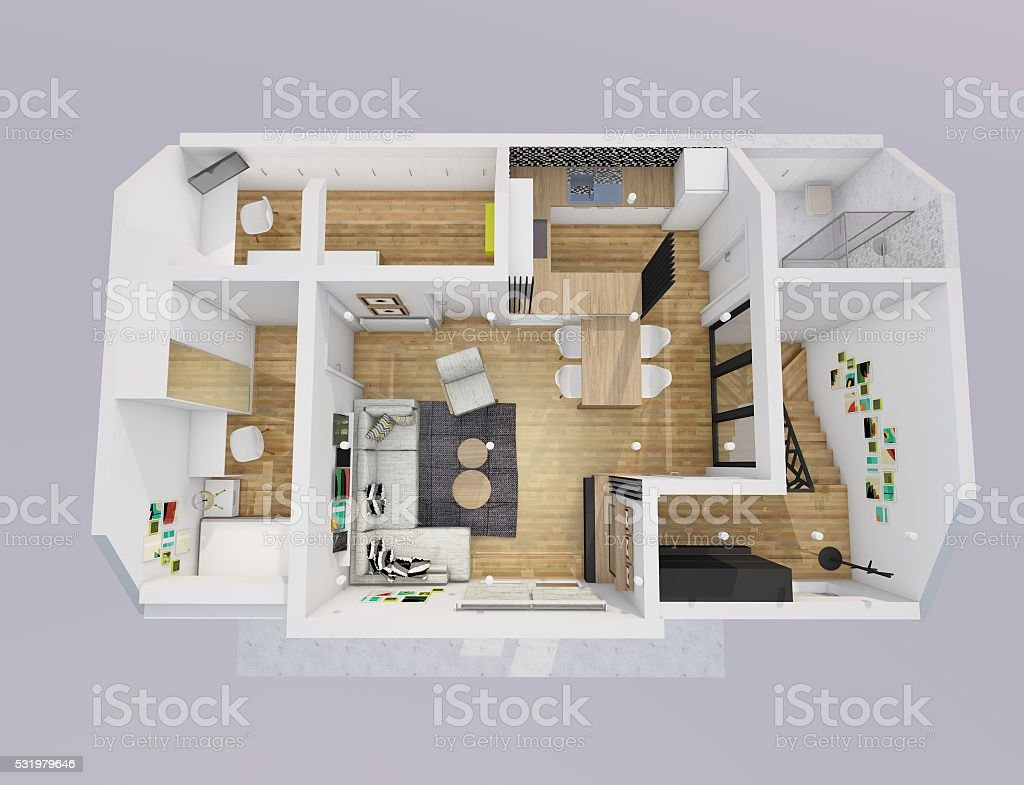 Aerial view of an apartment stock photo