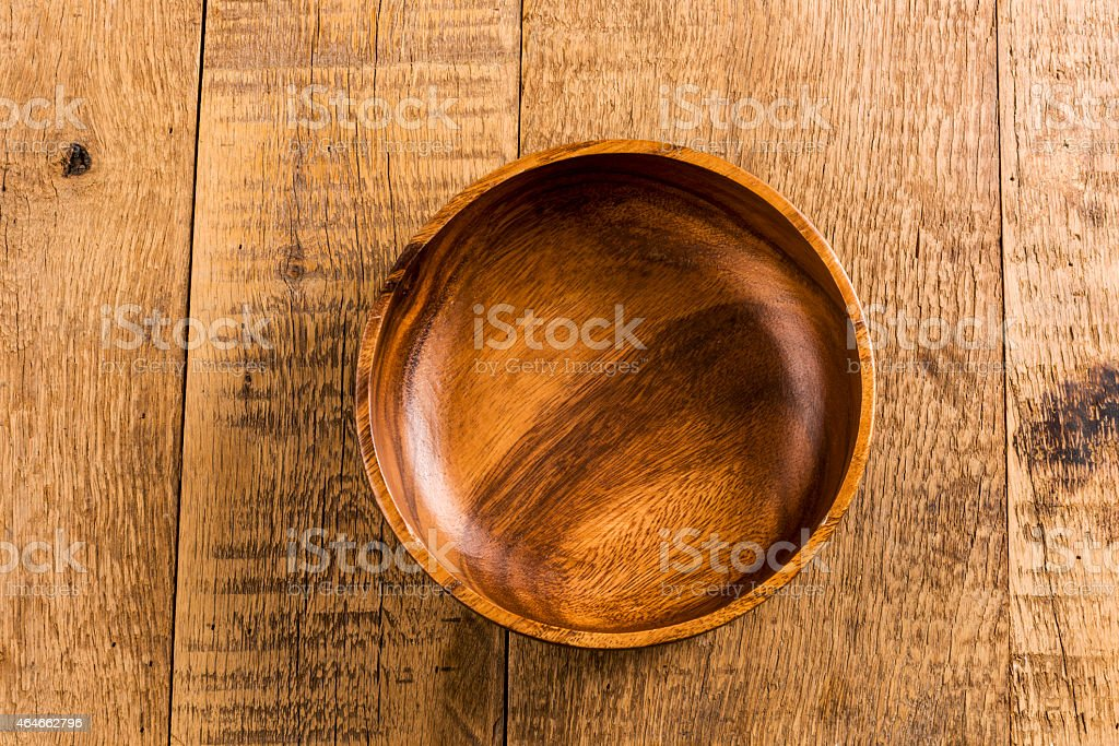 Aerial view of an empty wooden bowl stock photo
