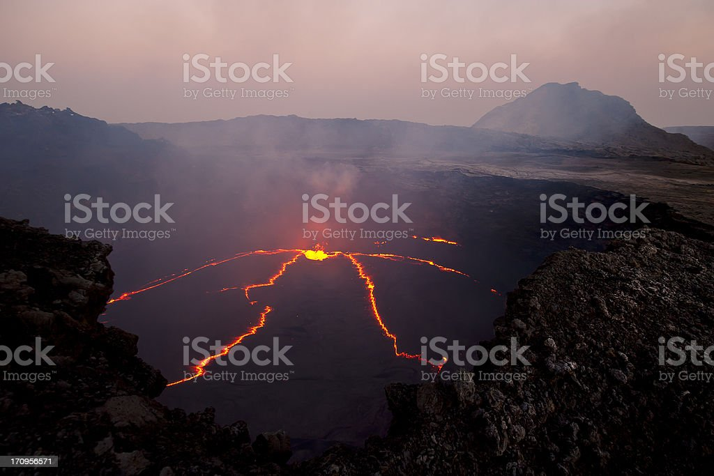 Aerial view of an erupting volcano in Erta Ale, Ethiopia stock photo