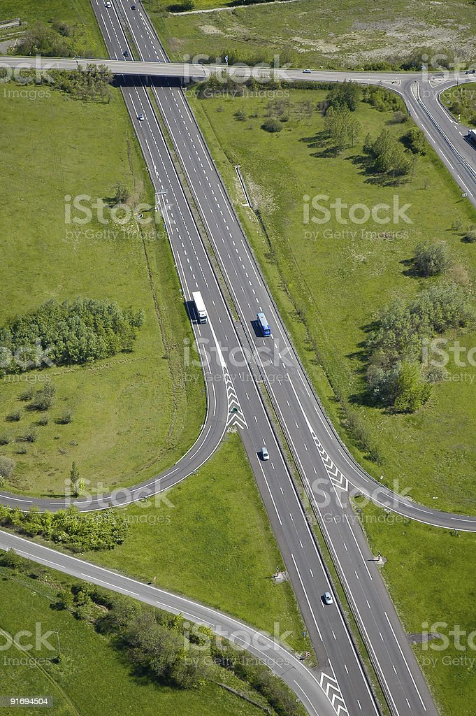 Aerial view of an Highway in France royalty-free stock photo