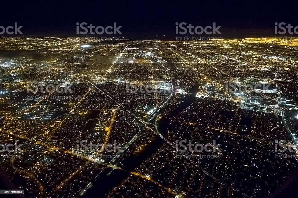 Aerial view of an illuminated Los Angeles at night royalty-free stock photo