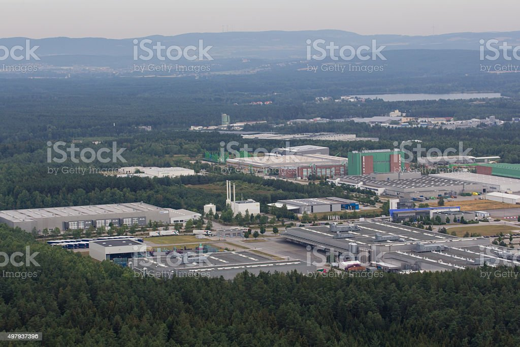 Aerial view of an Industrial Park area in Wackersdorf, Bavaria